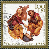 "GERMANY - CIRCA 1989: A stamp printed in the Germany, depicts an engraving, ""The Birth of Christ"", from St. Lorenz, Nuremberg, circa 1989 — Стоковое фото"