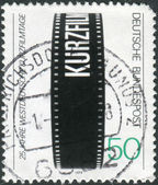 GERMANY - CIRCA 1979: A stamp printed in the Germany, dedicated to the 25th German Short-Film Festival, Oberhausen, circa 1979 — Stock Photo
