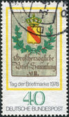GERMANY - CIRCA 1978: A stamp printed in the Germany, dedicated to the Stamp Day and German Philatelists Meeting, Frankfurt am Main, is shown Baden Posthouse Sign, c — Stock Photo