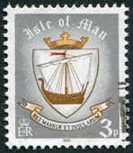 ISLE OF MAN - CIRCA 1979: A stamp printed in Isle of Man (British Crown Dependency), shows Viking ship (coat of arms of the island in 9th century), circa 1979 — Stock Photo