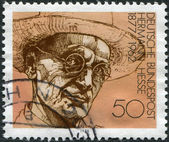 GERMANY - CIRCA 1978: A stamp printed in the Germany, shows Nobel Prize winner for literature Hermann Hesse, circa 1978 — Stok fotoğraf