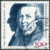 GERMANY - CIRCA 1990: A stamp printed in the Germany, dedicated to the 250th anniversary of the birth, Matthias Claudius, circa 1990 — Stock Photo