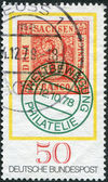 GERMANY - CIRCA 1978: A stamp printed in the Germany, dedicated to the Stamp Day and German Philatelists Meeting, Frankfurt am Main, shows first postage stamp of Saxony — Stock Photo