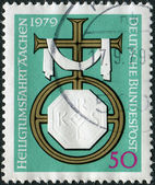 GERMANY - CIRCA 1979: A stamp printed in the Germany, dedicated to the pilgrimage to Aachen, shows Cross and Charlemagne Emblem, circa 1979 — Stock Photo