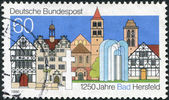 GERMANY - CIRCA 1986: A stamp printed in the Germany, dedicated to the 1250th anniversary of Bad Hersfeld, circa 1986 — Stock Photo