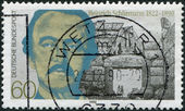 GERMANY - CIRCA 1990: A stamp printed in the Germany, shows Heinrich Schliemann, circa 1990 — Stock Photo