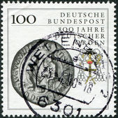 GERMANY - CIRCA 1990: A stamp printed in the Germany, shows a seal (1400) and the heraldic emblem of the Teutonic Order, circa 1990 — Stock Photo