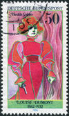 GERMANY - CIRCA 1976: A stamp printed in the Germany, the German actress portrayed Louise Dumont as Hedda Gabler, circa 1976 — Stock Photo