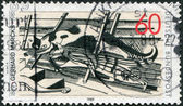 A stamp printed in the Germany, shows the Cats in the Attic, Woodcut by Gerhard Marcks (1889-1981) — Stock Photo