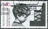 A stamp printed in the Germany, dedicated to the International Year of the Child and 20th anniversary of Declaration of Children's Rights — Stock Photo