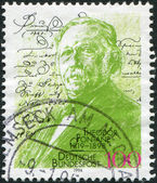 A stamp printed in the Germany, dedicated to the 75th anniversary of the birth Theodore Fontane, drawing by Max Liebermann — Stock Photo