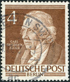 A stamp printed in Germany (West Berlin), shows Carl Friedrich Zelter — Stock Photo