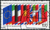 A stamp printed in Germany, is dedicated to third election in the European Parliament, shows the flags of the EU — Stock Photo