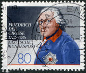 """A stamp printed in Germany, shows a picture of """"King Frederick the Great"""" by Anton Graff — Stock fotografie"""