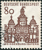 A stamp printed in Germany, is shown Ellinger Tor, Weissenburg in Bayern — Stock Photo