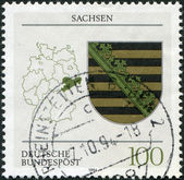 A stamp printed in Germany, is dedicated to the federal state of Saxony — Stock Photo