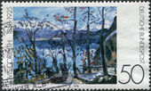 """A stamp printed in Germany, shows a picture of the """"Easter at Walchensee"""", by Lovis Corinth — Foto de Stock"""