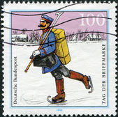 A stamp printed in Germany, shows the Mail Delivery, Spreewald Region (1900) — Stock Photo