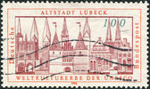 A stamp printed in Germany, is dedicated Addition of Lubeck to the UNESCO World Heritage List — Stock Photo