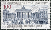 A stamp printed in Germany, is dedicated to the 200th anniversary of the Brandenburg Gate, Berlin — Stock Photo