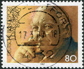 A stamp printed in Germany, shows the Ludwig Erhard — Stock Photo