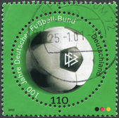 A stamp printed in Germany, is dedicated to the 100th anniversary of the German Football Association — Stock Photo