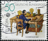 A stamp printed in Germany, shows Telegraph office, in 1863 — Stock Photo
