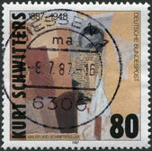 "A stamp printed in Germany, shows the painting ""No name (early-portrait)"", a collage by Kurt Schwitters — Stock Photo"