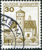 A stamp printed in Germany, shows the Burg Ludwigstein, river valley Werra — Stock Photo