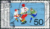 A stamp printed in Germany, is dedicated to Ice Hockey World Championship, Munich and Dusseldorf — Stock Photo