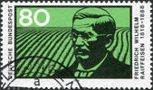 A stamp printed in Germany, shows Friedrich Wilhelm Raiffeisen — Stock Photo
