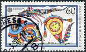 A stamp printed in Germany, show kites — Foto Stock