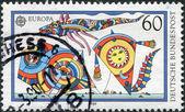 Um selo impresso na alemanha, mostrar pipas — Foto Stock