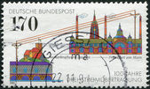 A stamp printed in Germany, is dedicated to the 100th anniversary of the 3-Phase Energy Transmission between the Neckar power plant and Frankfurt am Main — Stock Photo