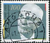 A stamp printed in Germany, is dedicated to the 100th anniversary of the birth Walter Eucken — Stockfoto