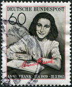 "A stamp printed in Germany, is dedicated to the 50th anniversary of the birth Annelies Marie ""Anne"" Frank — Stock Photo"