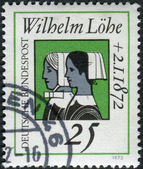A stamp printed in Germany, is dedicated to Wilhelm Lohe, founder of the Deaconesses Training Institute at Neuendettelsau shown Deaconesse — Stock Photo
