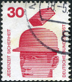 A stamp printed in Germany, is dedicated to Accident prevention displayed Safety helmets prevent injury — Stock Photo