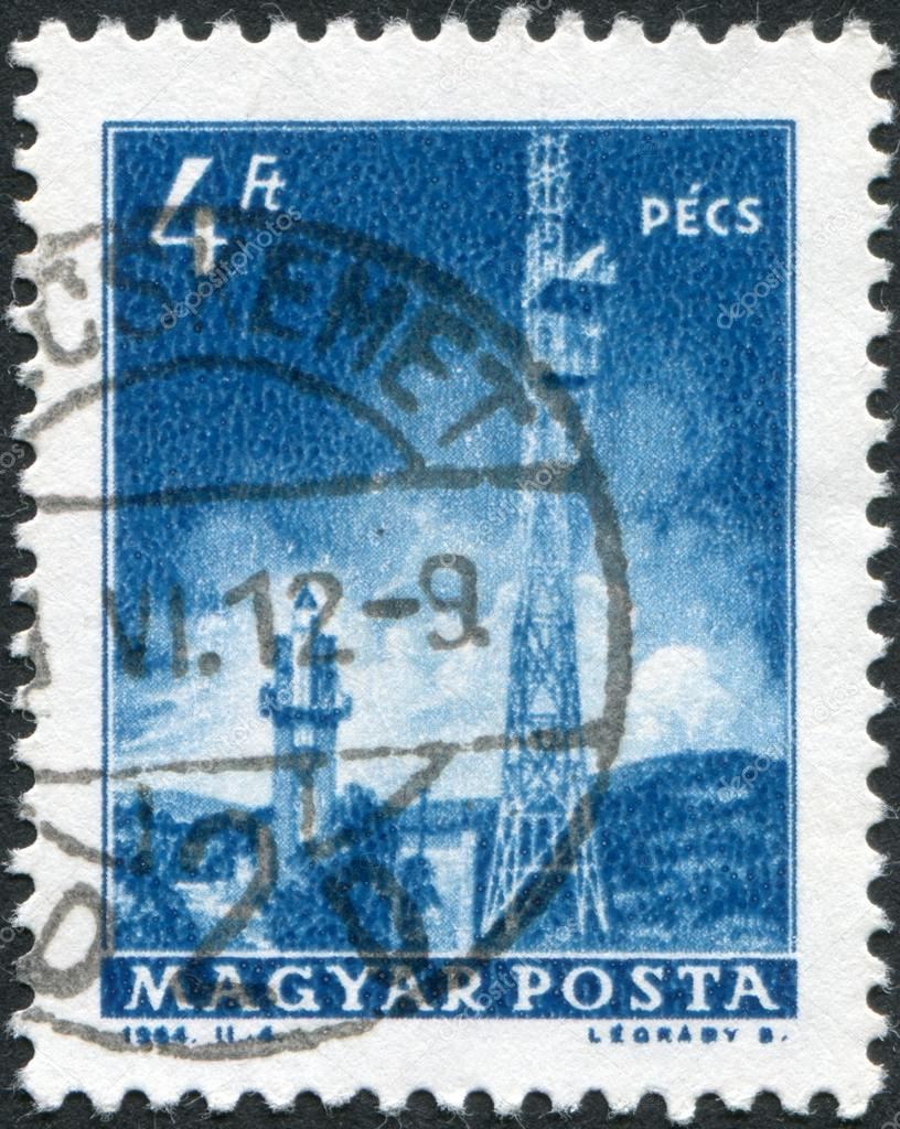 HUNGARY - CIRCA 1964: A stamp printed in Hungary, is depicted Pecs TV Tower, circa 1964 — Stock Photo #12755182