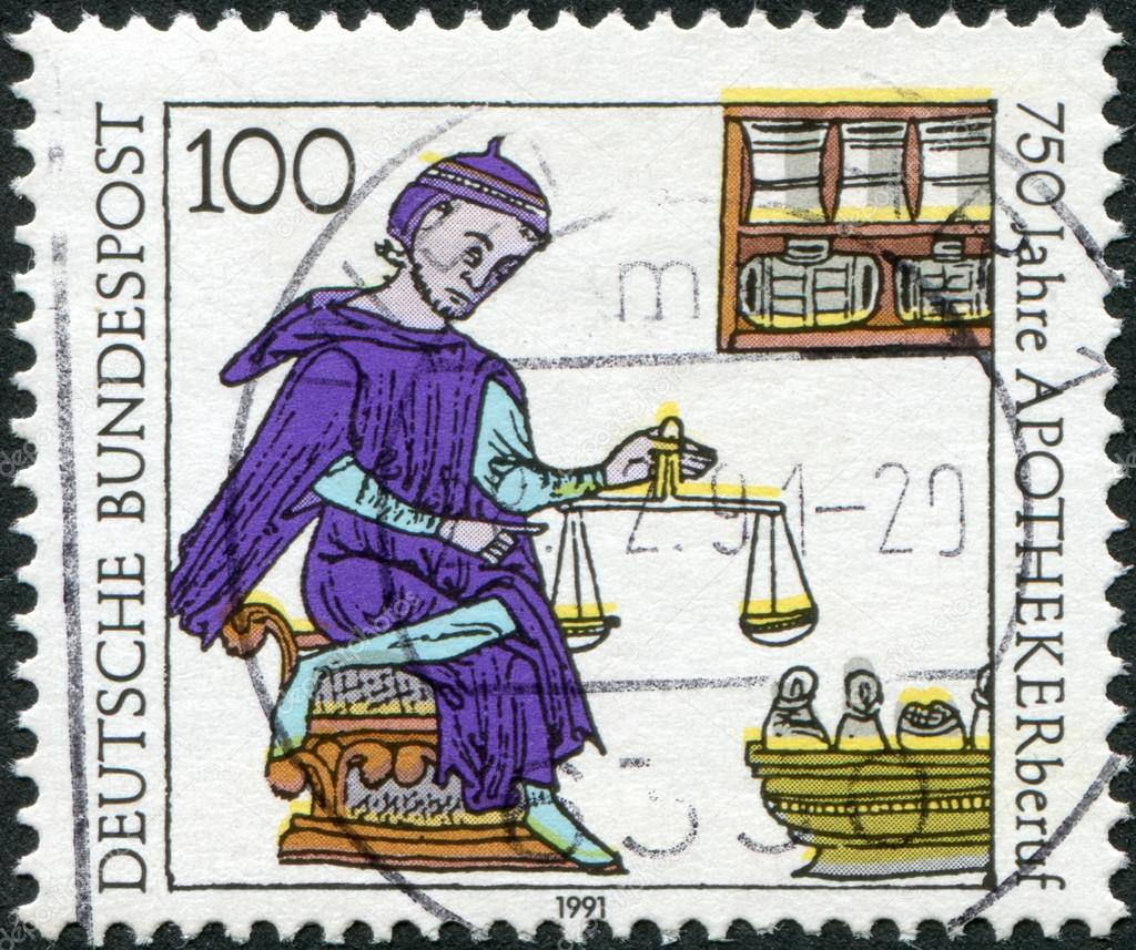 GERMANY - CIRCA 1991: A stamp printed in Germany, is dedicated to the 750th anniversary of the profession of pharmacy, miniature, a pharmacist, France (13th century), circa 1991 — Stock Photo #12757388