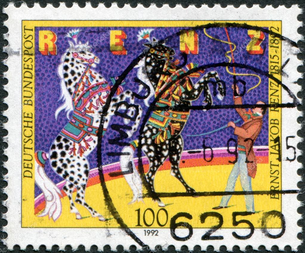GERMANY - CIRCA 1992: A stamp printed in Germany, is dedicated to Ernst Jakob Renz (1815-1892), Circus Director, shows the training of horses, circa 1992 — Stock Photo #12757678
