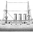 Stock Vector: Battleship HMS Dreadnought, 1906