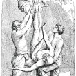 Old engraving. The Crucifixion of St. Peter - Stock vektor