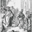 Old engraving. Ephesians burn the book after the preaching of the Apostle Paul - Stock Vector