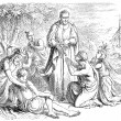 Old engravings. Depicts Saint Francis Xavier. — Stock vektor