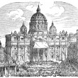 Old engravings. Shows the Papal Basilica of Saint Peter. — Stock Vector #13157361