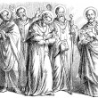 Depicts St. Dominic, St. Alphonsus Maria de Liguori, St. Benedict of Nursia, St. Francis of Assisi, St. Ignatius of Antioch - Stock Vector