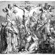 Old engravings. Shows the crucifixion of Christ. — Stockvector