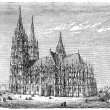 Old engravings. Shows the Cologne Cathedral (High Cathedral of Sts. Peter and Mary). - Stockvectorbeeld