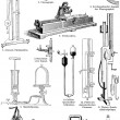 Various physical devices for the experiments and tests — Vektorgrafik